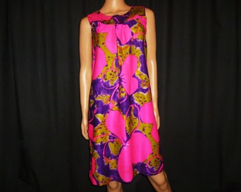 Vintage 1960's - Hot Pink -  Purple - Lime Green - Bold - FLORAL Print - Hawaiian - MINI - Dress - made in Hawaii - bust 37""