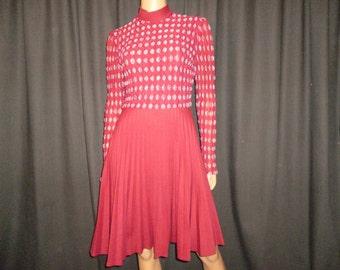 "Fully Com-PLEAT - Vintage 1960's - PLEATED - Full Circle Skirt - Burgundy -  White - Bubble - Polka Dot - Mod - Dress - 34"" - 36"" bust"