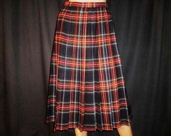 "STRIPEING it Rich - Vintage 60's - Pendleton - Wool - Black/Blue/Red/Green - Plaid  - PINSTRIPE - Pleated - Kick pleat - Skirt - 27"" waist"