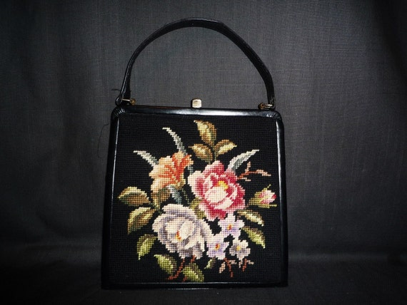 EYE of the NEEDLE - Vintage1940's or 1950's - Floral - NEEDLEpoint - Black - Leather - Flower  - Kelly - Bag