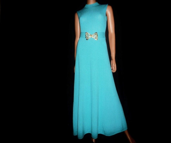 "Madame BUTTERFLY  Vintage 1960's or 1970's St John Knits Turquoise Maxi dress with Huge 5 x 3 Gold Tone BUTTERFLY Belt  34"" chest"