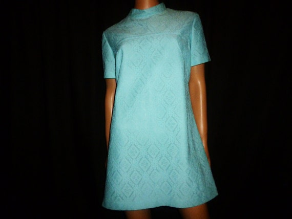LACE Up and Play  - Vintage 60s - Powder Blue - LACE - MINI - Dress - by Mary Mason - size Xlarge or plus size