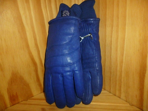 Vintage 1970's or 80's Royal Blue Leather Ski Gloves    womens size medium