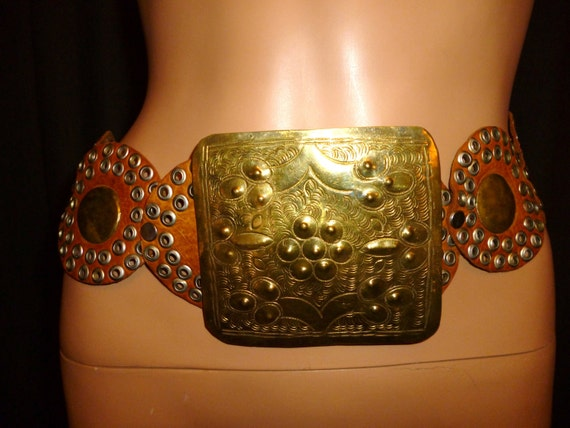 Vintage 80's Hand Tooled Wide Brown Leather Gladiator Waist Cincher Belt with Huge 4 5/8 inch by 4 inch Buckle