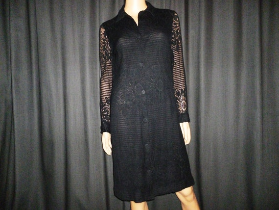 "Vintage 60's - Black - Crochet - Floral - Sheer Sleeve - Dress - 36"" bust"