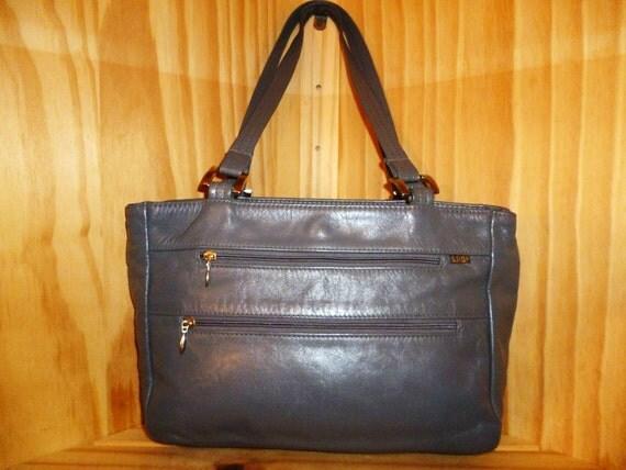 Grey Matter Vintage 80's S.A.S. Gun Metal Grey Leather Sacthel Bag  medium size