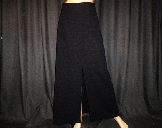"LONG Way Down - Vintage 60's - Black - Boho - Mod - LONG - MAXI - Sexy - Front Slit - Skirt - 29"" waist"