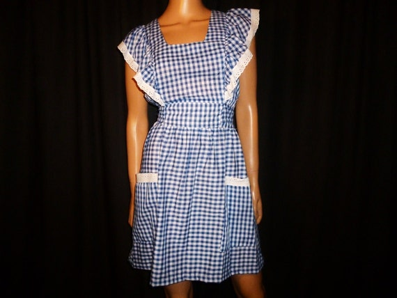 I'm off to see the Wizard...Vintage 1960's or 1970's Blue and White Check, Ruffled Eyelet Lace, Mini DOROTHY Dress