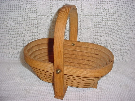 Handmade Collapsible Wooden Baskets : Handcrafted one piece wooden oak collapsible folding basket