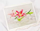 Fine art romantic photography mothers day cards Easter pink lily on white and green wedding, birthday, anniversary, tbteam, oht, rusteam