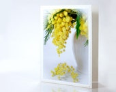 Blank photo note card Yellow mimosa flower spring white green for birthday, mother's day gift , wedding, any occasion. tbteam, rusteam, oht