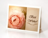 Best wishes blank photo notecard greeting note card rustic shabby chic pink ranunculus mothers day birthday wedding red rusteam, oht, tbteam