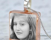 Custom Photo Pendant on Your Color Choice of Rustic Art Glass