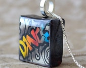 Dance Graffiti Pendant on Black Rustic Glass