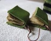 Mini book earrings - green leather