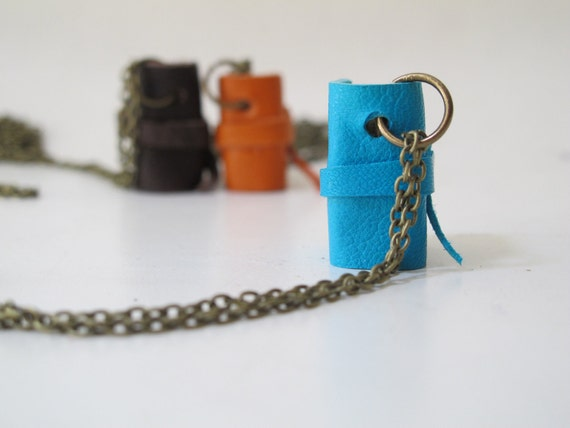 Turquoise mini book necklace