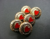 Red heart gold buttons