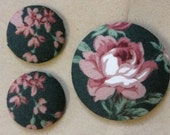 Rose Fabric Earring and Brooch Set