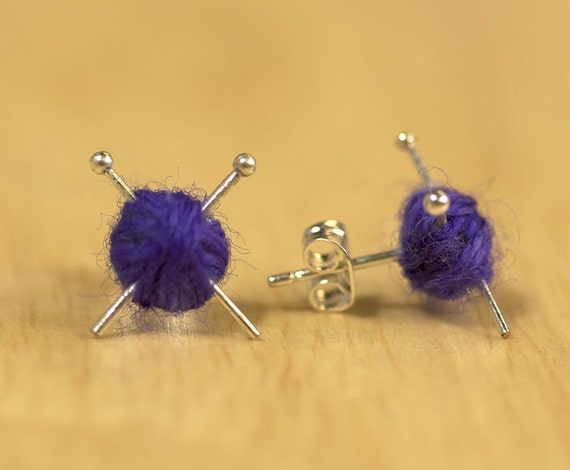 Knitting Ear studs - Purple knit earrings