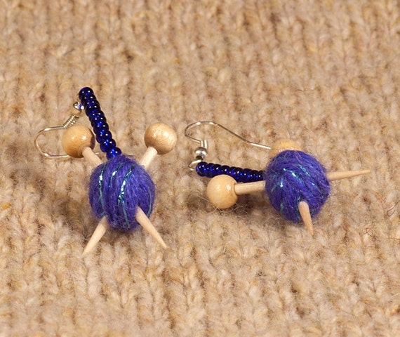 Knitting Needles And Wool : Knitting needles and ball of wool earrings sparkly by