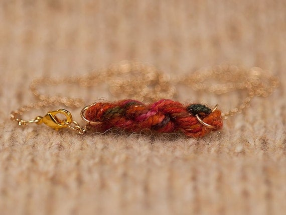 Autumn Sparkle Skein of Yarn Necklace