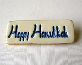 Happy Hanukkah Handmade Porcelain Ceramic Brooch