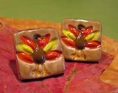 Thanksgiving Turkey PorcelainClay Post Earrings