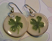 Four Leaf Clover Dangle Porcelain Earrings