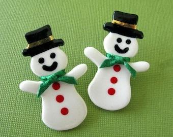 Snowman Earrings Handmade Porcelain Ceramic Christmas Jewelry