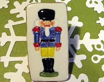 Nutcracker Handmade Porcelain Jewelry Christmas Brooch