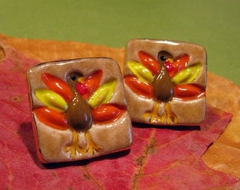 Thanksgiving Turkey PorcelainClay Post Earrings