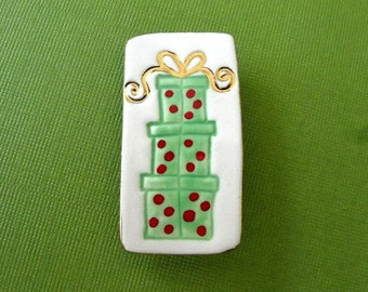 Stack of Presents Porcelain Pin Handmade Ceramic Christmas Jewelry