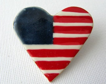 American Flag Heart Porcelain Brooch