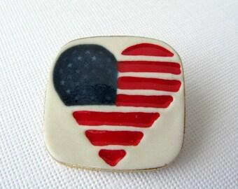 Heart American Flag Porcelain Pin Handmade Ceramic Brooch