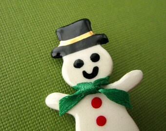 Snowman Porcelain Pin Handmade Christmas Jewelry