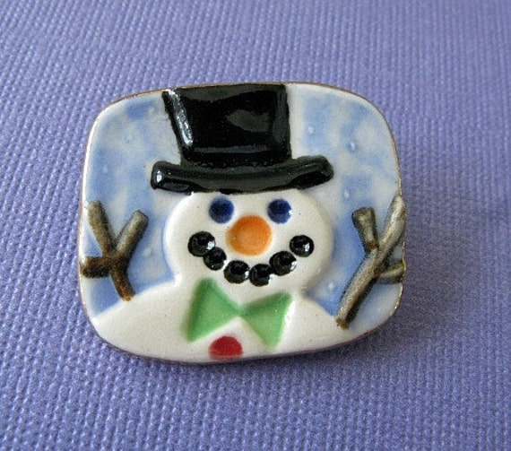 Snowman Brooch Handmade Porcelain Ceramic Jewelry By Linda Cain