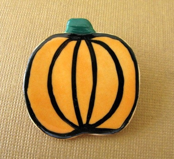 Harvest Pumpkin Porcelain Pin for the Fall Handmade