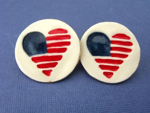Flag Heart Earrings Handmade Porcelain Ceramic Jewelry By Linda Cain
