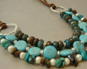 The Western Sterling Leather Necklace, turquoise, pearl, esty coupon code, handcrafted artisan jewelry by jewelrybyfrancine on etsy.com