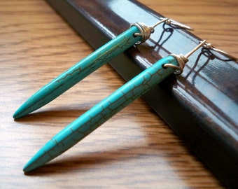 Turquoise Magnesite Spear Earrings on Sterling Silver - Untamed