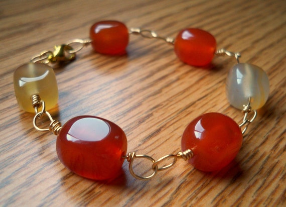 Molten Caramel Bracelet - Carnelian and Gold Bracelet