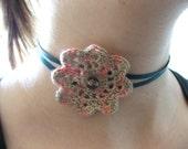 Silk and ribbon flower choker