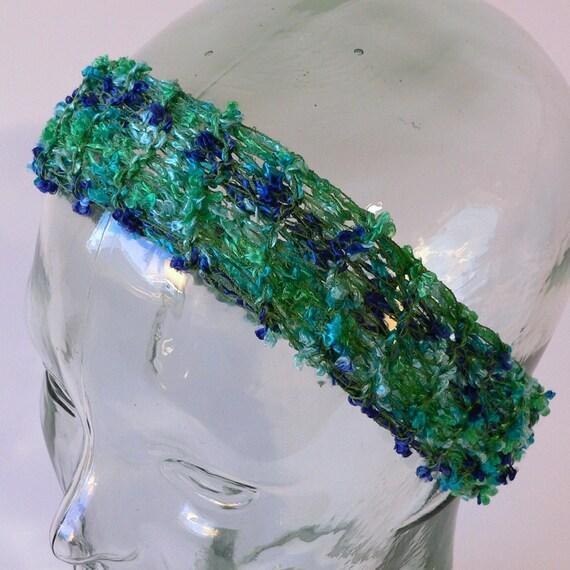 Marino Blue and Green Knit Headband