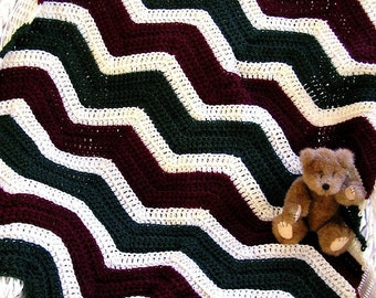 new chevron zig zag baby blanket wrap toddler afghan lapghan lap robe christmas red aran green crochet knit handmade AMERICA