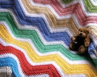 new chevron zig zag baby blanket afghan wrap crochet knit toddler crib ripple stripes LION VANNA WHITE yarn multi color handmade in usa