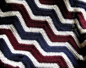 new chevron zig zag baby blanket afghan wrap crochet wheelchair ripple stripes LION VANNA yarn patriotic americana military handmade USA