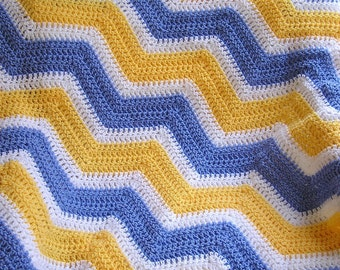 new chevron zig zag crochet knit baby toddler afghan blanket wrap lap wheelchair ripple stripes VANNA WHITE yarn blue yellow handmade in USA