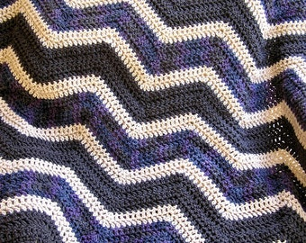 new chevron zig zag baby blanket crochet knit baby afghan lap robe wheelchair ripple stripes VANNA WHITE yarn purple grey beige handmade USA