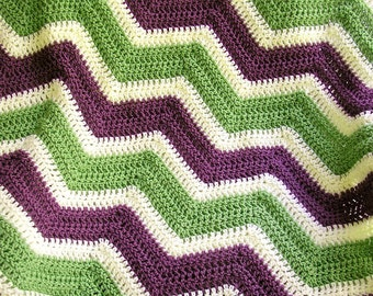 new chevron zig zag baby blanket afghan wrap crochet knit laprobe wheelchair ripple stripes LION VANNA white yarn purple green handmade USA