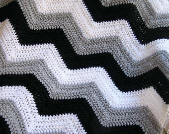 new chevron zig zag baby blanket afghan wrap crochet knit lap robe wheelchair ripple stripes LION VANNA yarn black grey white handmade USA